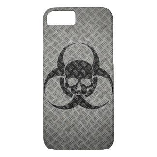 Grunge Bio hazard symbol on steel iPhone 7 Case