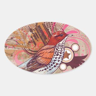 Grunge Bird I Oval Sticker