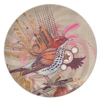Grunge Bird I Party Plates