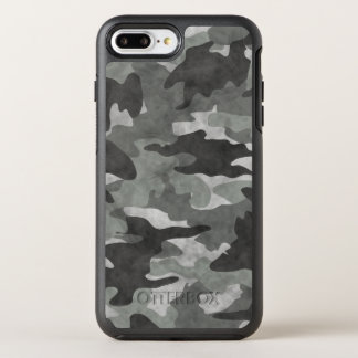 Grunge Black and Gray Camo Camouflage Pattern Cool OtterBox Symmetry iPhone 8 Plus/7 Plus Case