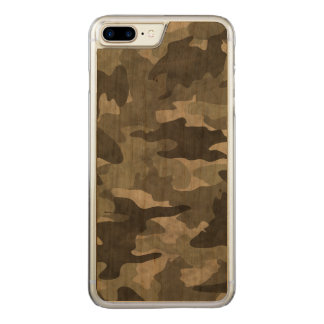 Grunge Black and Gray Camo Camouflage Pattern Wood Carved iPhone 8 Plus/7 Plus Case