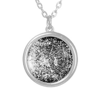 Grunge Black and White Background Silver Plated Necklace
