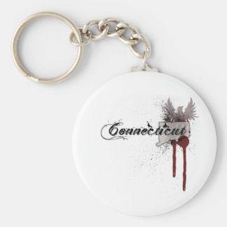 Grunge Blood Splatter Connecticut Keychain
