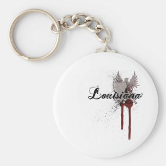 Grunge Blood Splatter Louisiana Keychain
