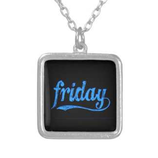 GRUNGE BLUE BLACK FRIDAY WEEKDAY SILVER PLATED NECKLACE