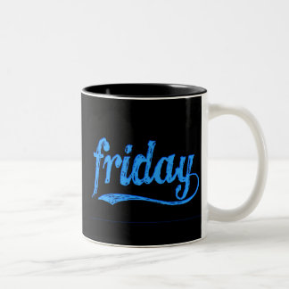 GRUNGE BLUE BLACK FRIDAY WEEKDAY Two-Tone COFFEE MUG