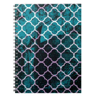 Grunge Blue Moroccan Design Notebook