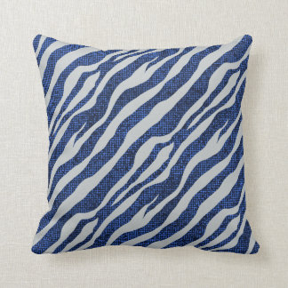 Grunge Blue Zebra Pattern Throw Pillow