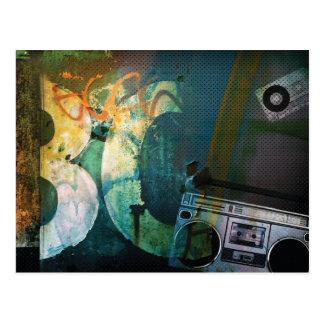 Grunge Boombox Postcard