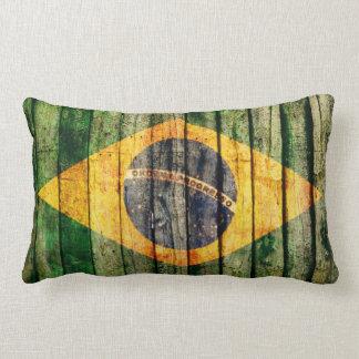 Grunge Brazil flag on rustic wood texture Lumbar Pillow