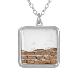 Grunge brick wall silver plated necklace