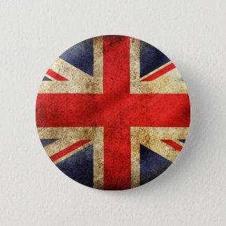 Grunge British Flag Button centered