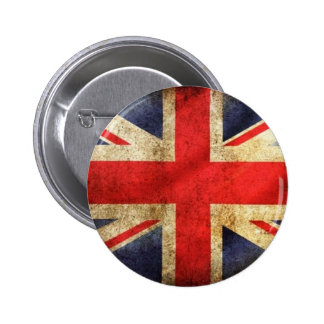 Grunge British Flag Button centered