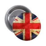 Grunge British Flag Button centred