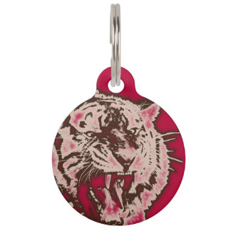 Grunge Burgundy Abstract Tiger Pet Nametag