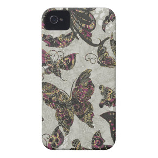 Grunge Butterflies Blk Gray Purple Paisley Floral iPhone 4 Cover