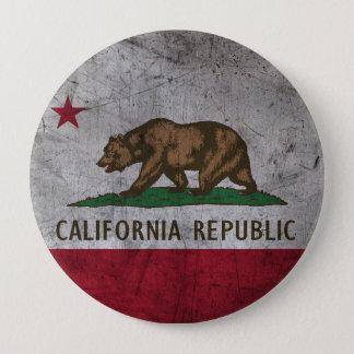 Grunge California Flag 4 Inch Round Button