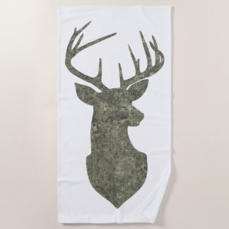 Grunge Camo Deer Silhouette Beach Towel