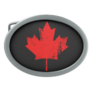 Grunge Canada Flag Maple - Red Distorted Oval Belt Buckle