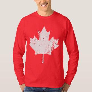 Grunge Canada Flag Maple - White Distorted T-Shirt
