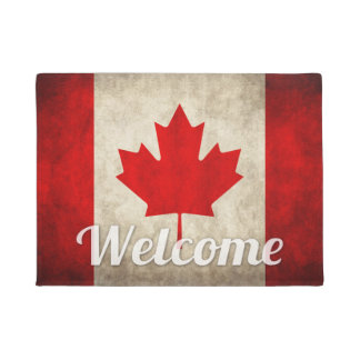 Grunge Canada Flag - Retro Canadian Maple Leaf Doormat