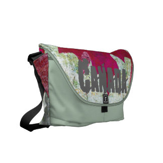 grunge canadian flag - red maple leaf courier bags