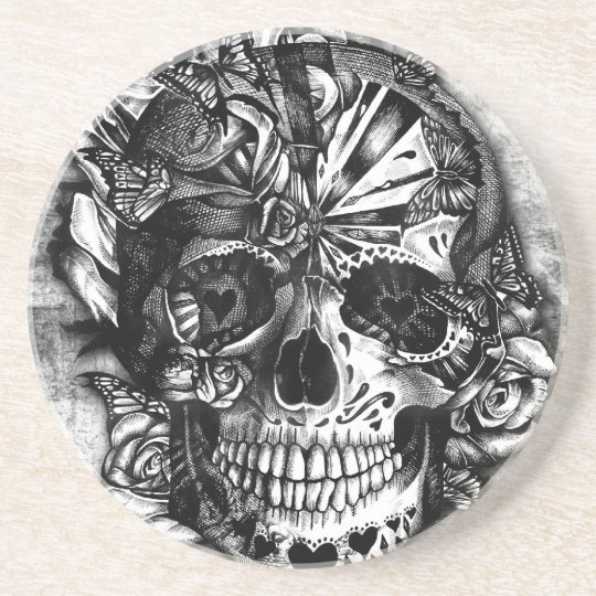 Grunge Candy sugar skull in black and white. Coaster