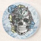 Grunge Candy sugar skull in blue yellow and pink. Coaster