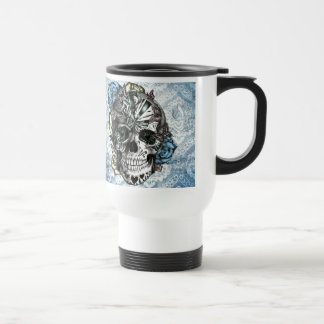 Grunge Candy sugar skull in blue yellow and pink. Mug