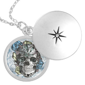 Grunge Candy sugar skull in blue yellow and pink. Round Locket Necklace
