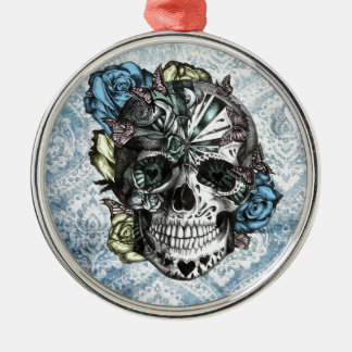 Grunge Candy sugar skull in blue yellow and pink. Silver-Colored Round Ornament