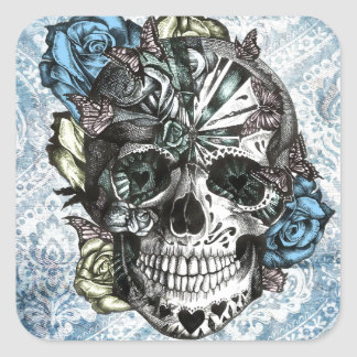 Grunge Candy sugar skull in blue yellow and pink. Square Sticker