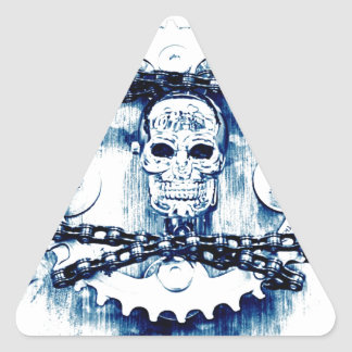 Grunge Chains Gears Skull, blue white, template Triangle Sticker