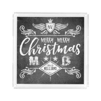 Grunge Chalkboard Merry Christmas Retro Typography Acrylic Tray