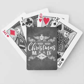 Grunge Chalkboard Merry Christmas Retro Typography Bicycle Playing Cards