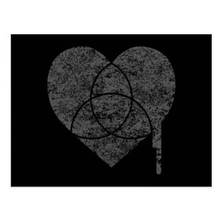 grunge chart heart postcard