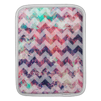 grunge chevron pattern personalized by name sleeve for iPads