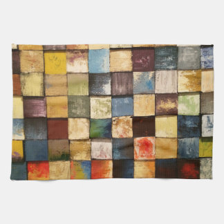 Grunge Colorful Painted Squares Design Kitchen Towel