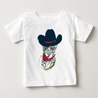 Grunge Cowboy Cat Portrait 2 Baby T-Shirt
