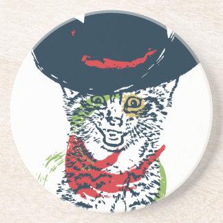 Grunge Cowboy Cat Portrait 2 Coaster