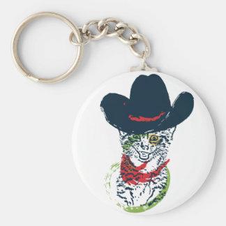 Grunge Cowboy Cat Portrait 2 Keychain