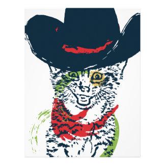 Grunge Cowboy Cat Portrait 2 Letterhead
