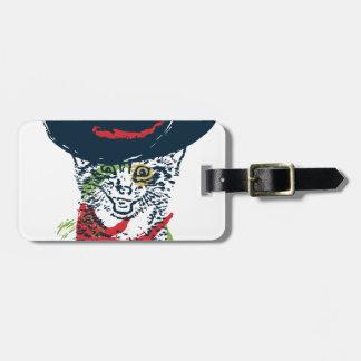 Grunge Cowboy Cat Portrait 2 Luggage Tag