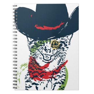 Grunge Cowboy Cat Portrait 2 Notebooks
