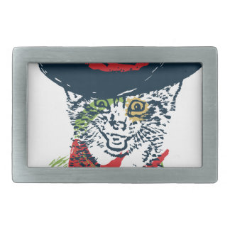 Grunge Cowboy Cat Portrait 2 Rectangular Belt Buckles