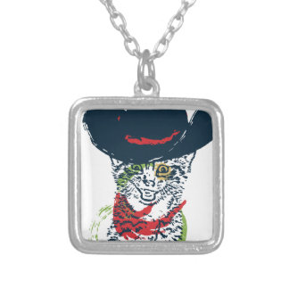 Grunge Cowboy Cat Portrait 2 Silver Plated Necklace