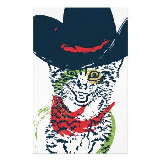 Grunge Cowboy Cat Portrait 2 Stationery