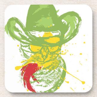 Grunge Cowboy Cat Portrait Coaster