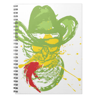 Grunge Cowboy Cat Portrait Note Books