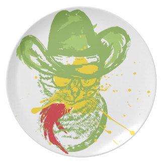 Grunge Cowboy Cat Portrait Party Plate